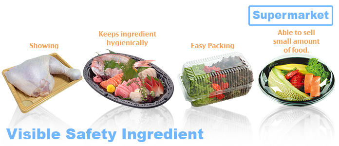 Disposable food container for ingredients (meat, fish, vegetable, fruits) in super market