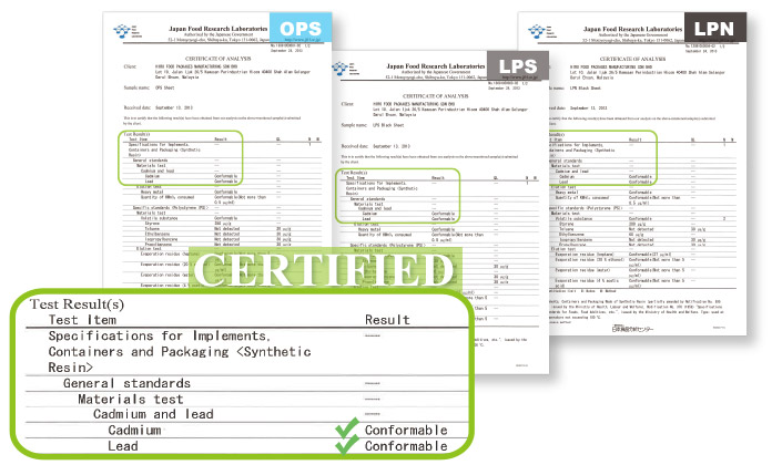 HIRO FOOD materials (LPS / LPN / OPS) has been certificated by Japan Food Research Laboratories