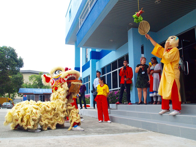 We invited lion dance to second factory